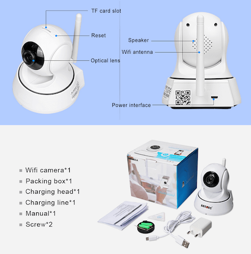 Sectec 720P IP Camera 1MP WIFI Home Security Camera Video ( Mobile Remote)